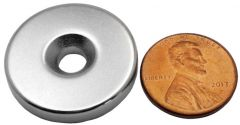 "1"" x 3/16"" Countersunk Ring - Neodymium Rare Earth Magnet"
