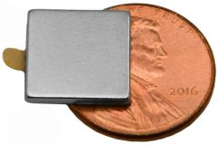 "1/2"" x 1/2"" x 1/16"" Block Magnets - Adhesive Backed - Neodymium Magnets"