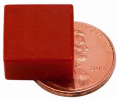 "1/2"" x 1/2"" x 1/4"" Blocks - Plastic Coated - Red - Neodymium Magnet"