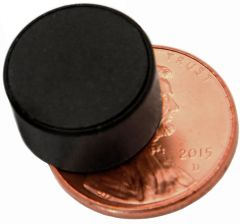 "1/2"" x 1/4"" Disc - Plastic Coated - Black - Neodymium Magnet"