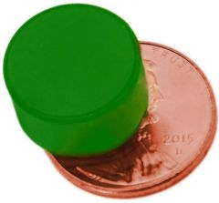 "1/2"" x 1/4"" Disc - Plastic Coated - Green - Neodymium Magnet"