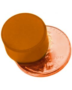 "1/2"" x 1/4"" Disc - Plastic Coated - Orange - Neodymium Magnet"