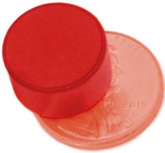 "1/2"" x 1/4"" Disc - Plastic Coated - Red - Neodymium Magnet"