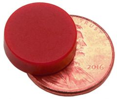 "1/2"" x 1/8"" Disc - Plastic Coated - Red - Neodymium Magnet"